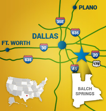 Map of Dallas area
